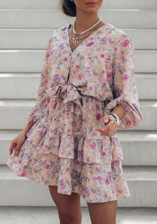 Brązowa sukienka kwiatowa rozkloszowana z falbankami Abella 3