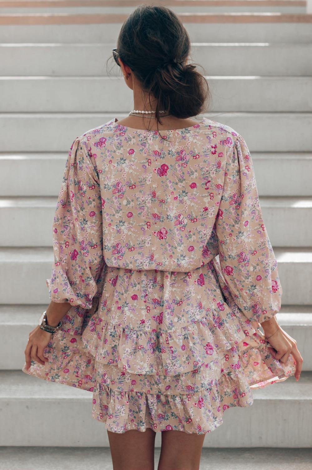 Brązowa sukienka kwiatowa rozkloszowana z falbankami Abella 4