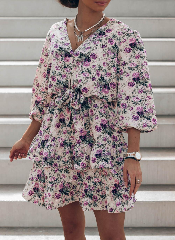 Fioletowa sukienka kwiatowa rozkloszowana z falbankami Abella 3