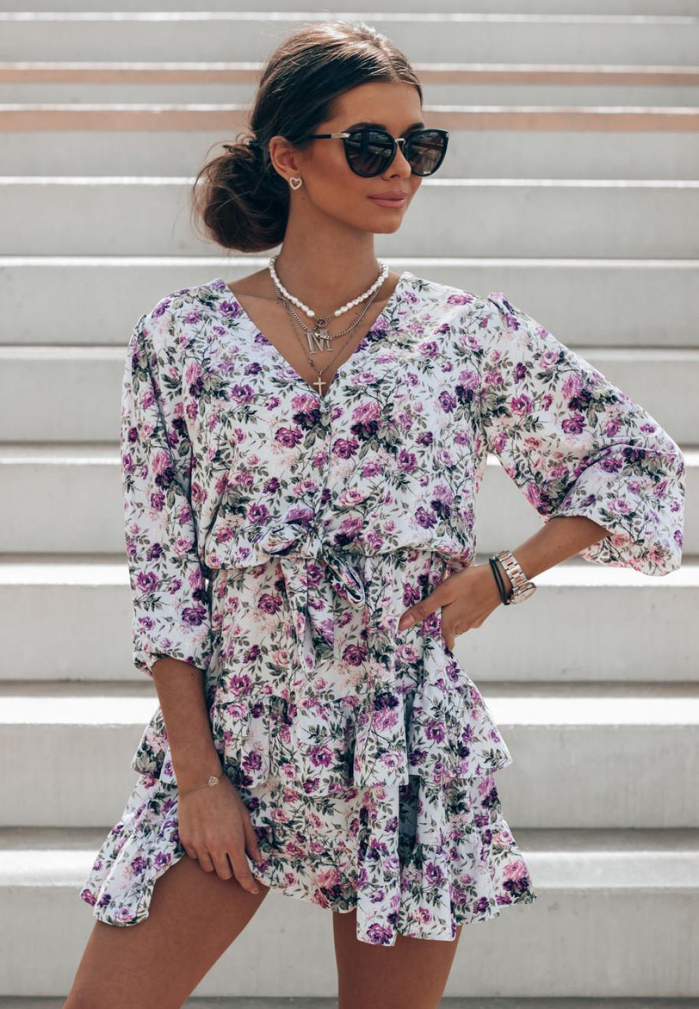 Fioletowo-zielona sukienka kwiatowa rozkloszowana z falbankami Abella 1