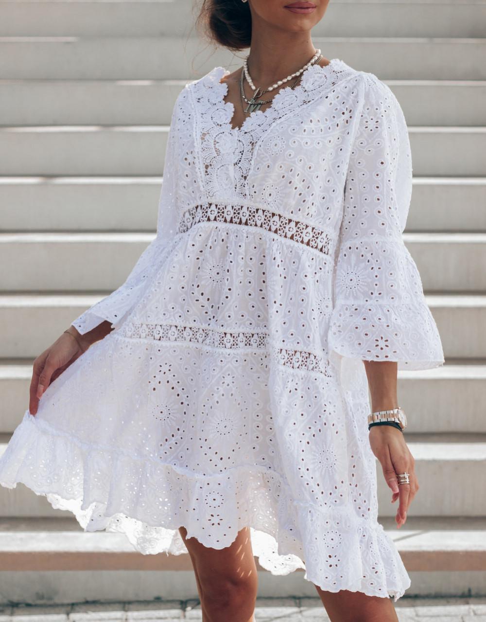 Biała ażurowa sukienka oversize V-Neck Alina 2