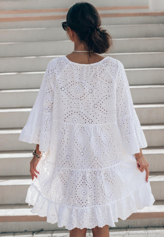 Biała ażurowa sukienka oversize V-Neck Alina 3