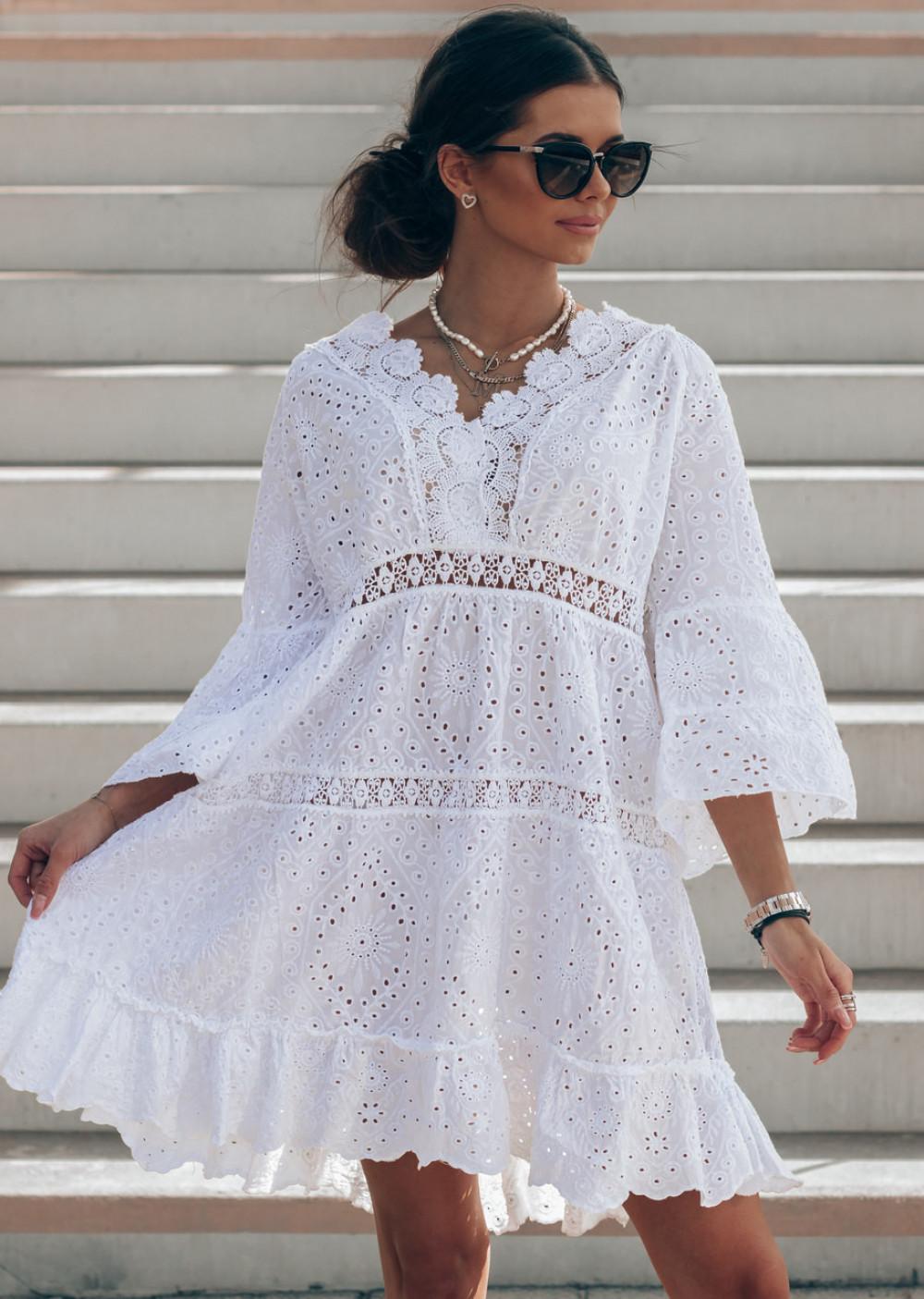 Biała ażurowa sukienka oversize V-Neck Alina 1