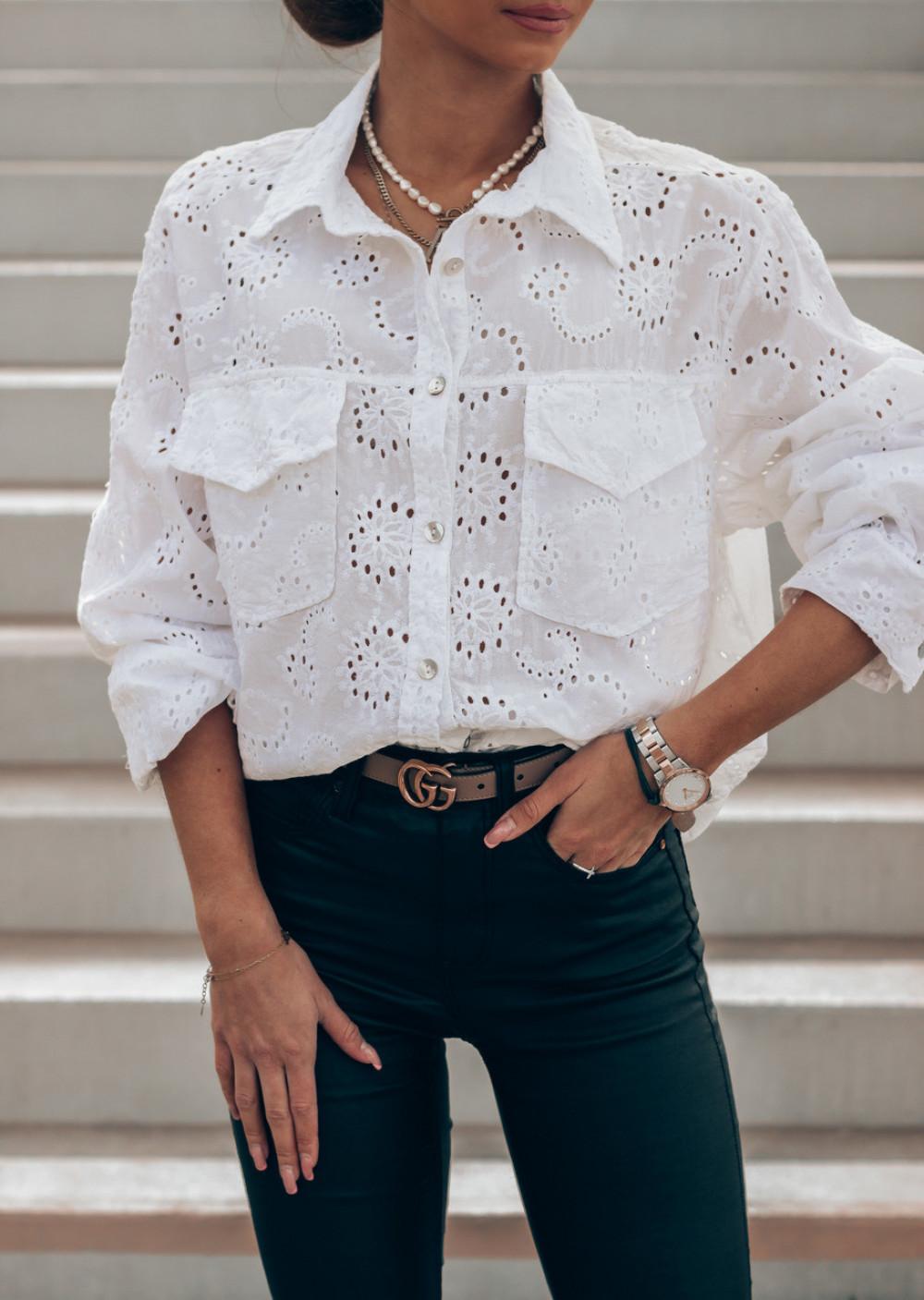Biała ażurowa koszula oversize Clotilde 3