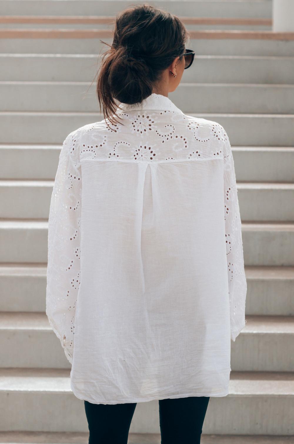 Biała ażurowa koszula oversize Clotilde 2