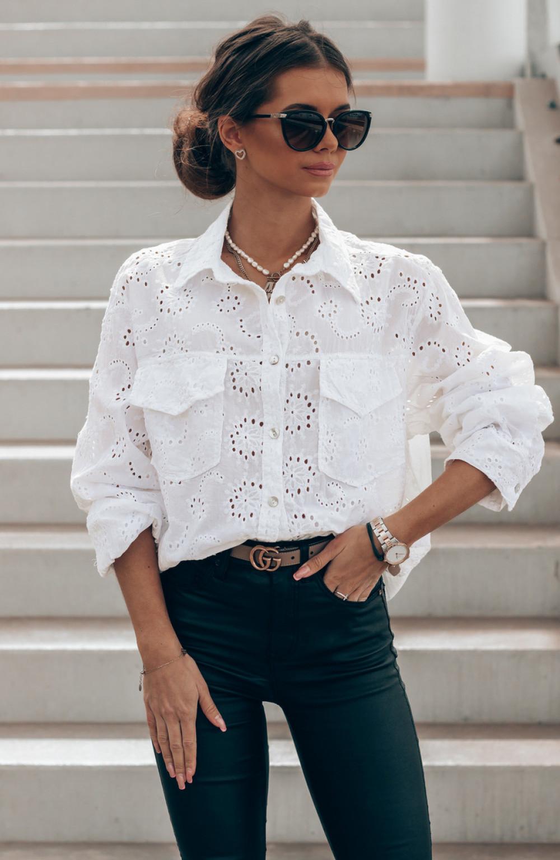 Biała ażurowa koszula oversize Clotilde 1