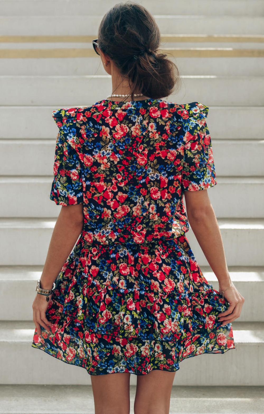 Czarno-czerwona kwiatowa rozkloszowana sukienka V-Neck Caterina 3