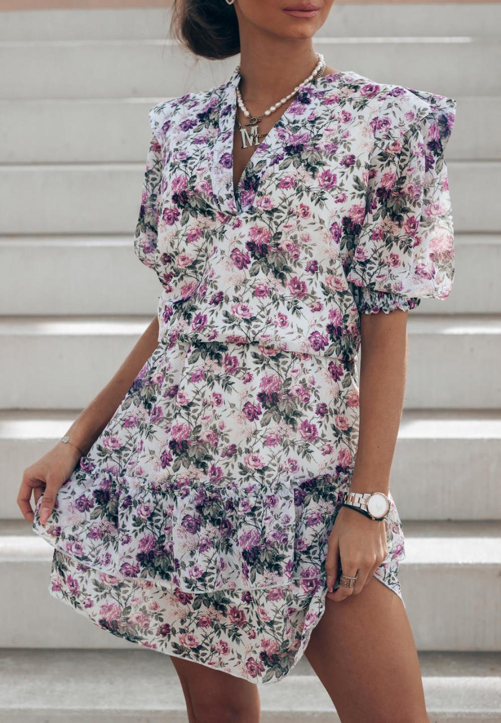 Fioletowa kwiatowa rozkloszowana sukienka V-Neck Caterina 2