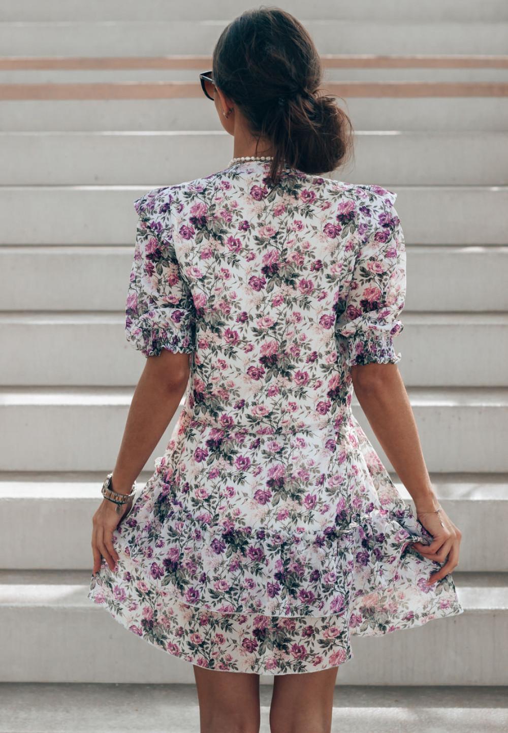 Fioletowa kwiatowa rozkloszowana sukienka V-Neck Caterina 3