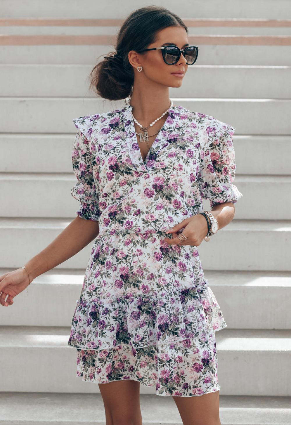 Fioletowa kwiatowa rozkloszowana sukienka V-Neck Caterina 1