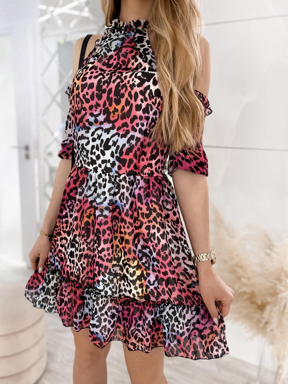 Kolorowa panterkowa sukienka hiszpanka z falbankami Claudia 5