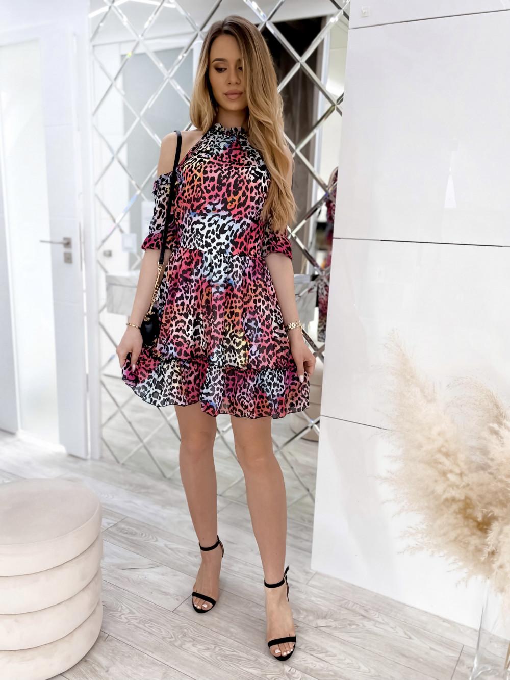 Kolorowa panterkowa sukienka hiszpanka z falbankami Claudia 4