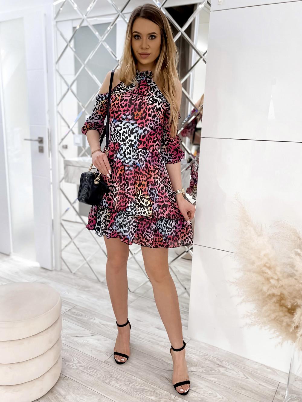 Kolorowa panterkowa sukienka hiszpanka z falbankami Claudia 1