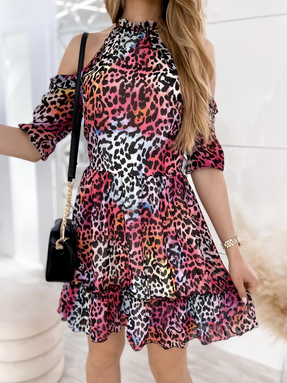 Kolorowa panterkowa sukienka hiszpanka z falbankami Claudia 3