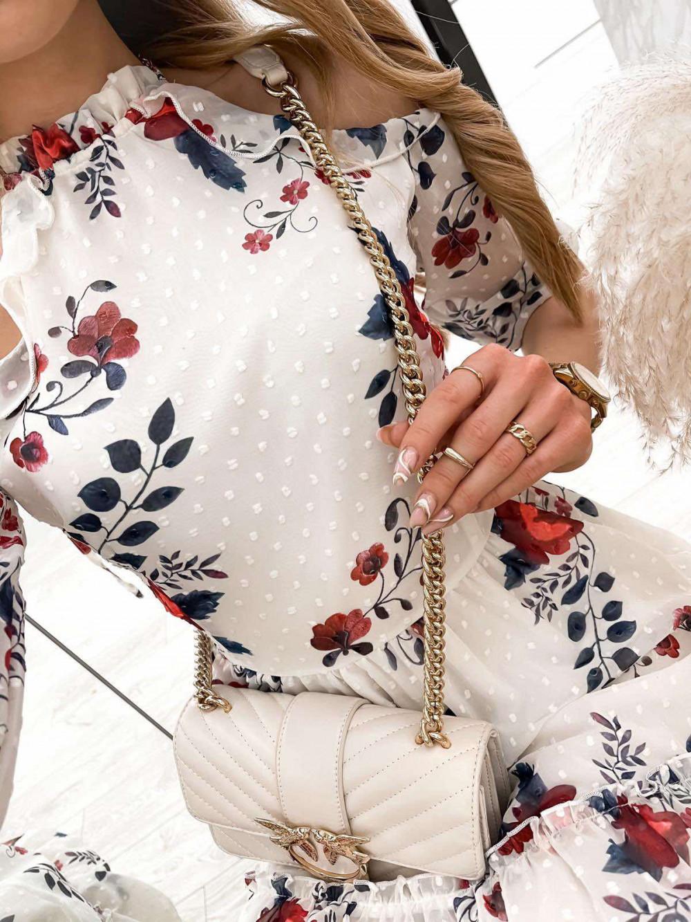 Biała kwiatowa sukienka hiszpanka z falbankami Claudia 4