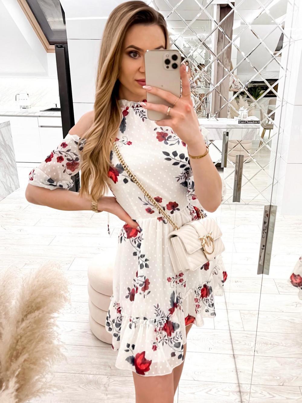 Biała kwiatowa sukienka hiszpanka z falbankami Claudia 2