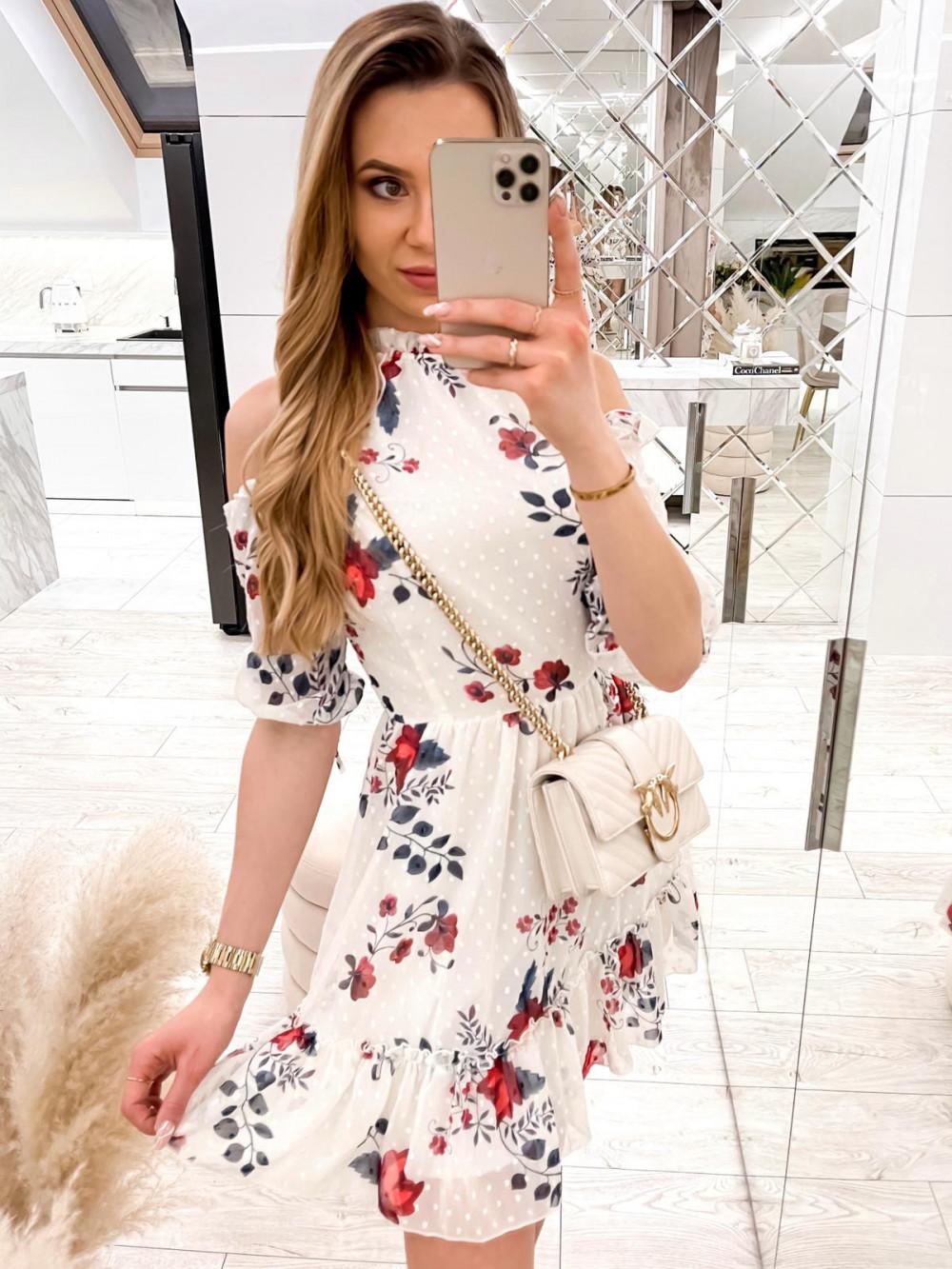 Biała kwiatowa sukienka hiszpanka z falbankami Claudia 3