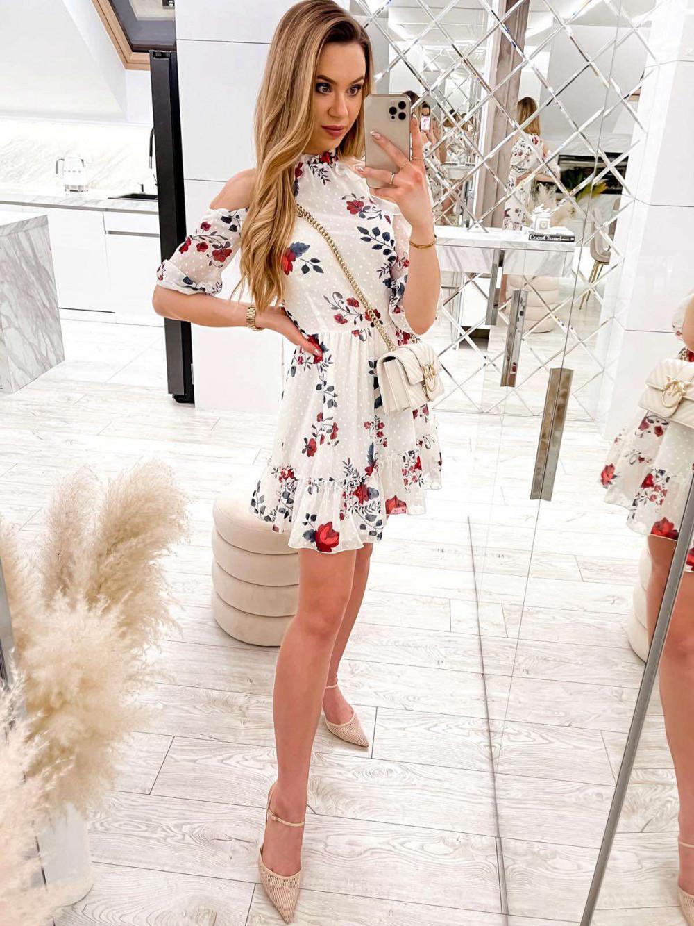 Biała kwiatowa sukienka hiszpanka z falbankami Claudia 1