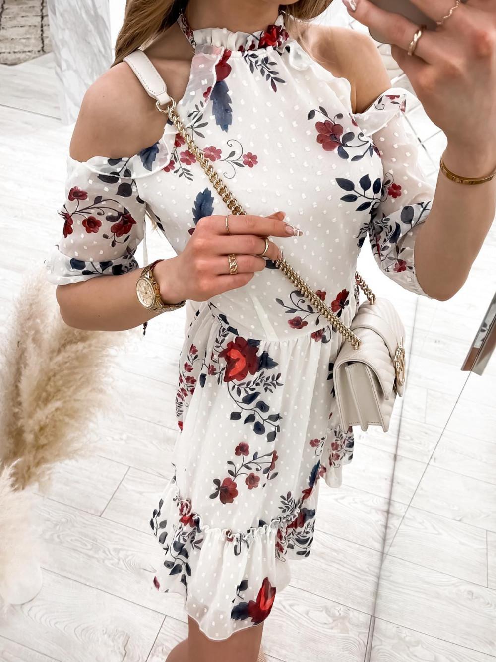 Biała kwiatowa sukienka hiszpanka z falbankami Claudia 5