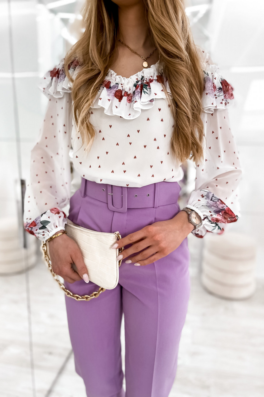 Biała bluzka hiszpanka z falbankami w kwiaty Julia 1