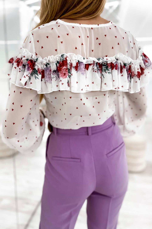 Biała bluzka hiszpanka z falbankami w kwiaty Julia 5