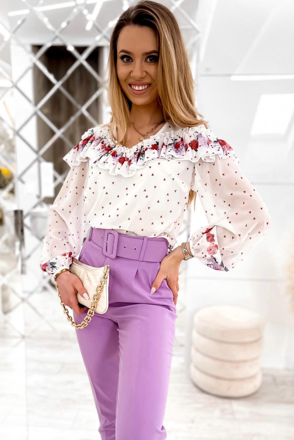 Biała bluzka hiszpanka z falbankami w kwiaty Julia 2