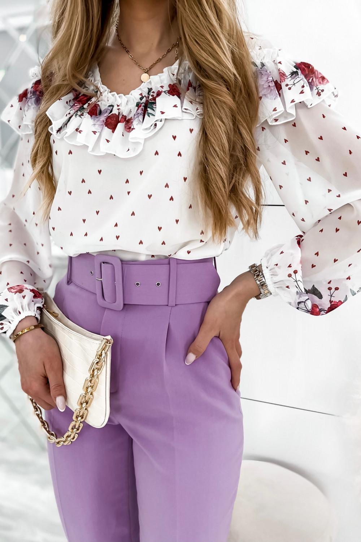 Biała bluzka hiszpanka z falbankami w kwiaty Julia 7