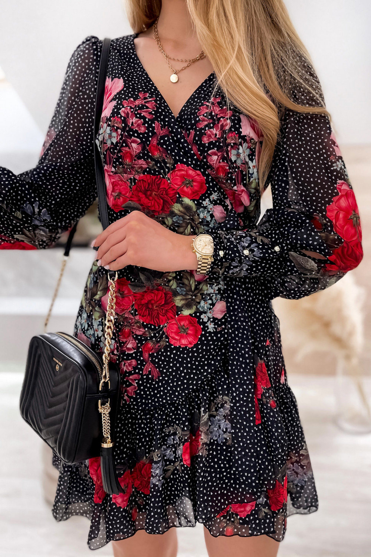 Czarno-czerwona sukienka szyfonowa w kwiaty Flores 4