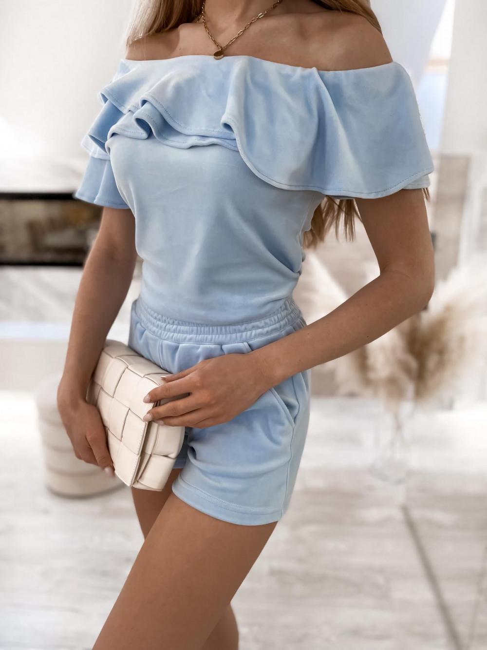 Jasnoniebieski krótki komplet damski hiszpanka z szortami Clarisa 5