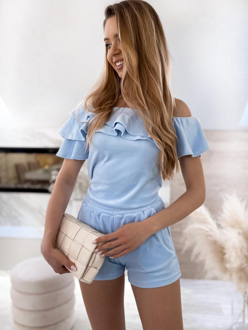 Jasnoniebieski krótki komplet damski hiszpanka z szortami Clarisa 3