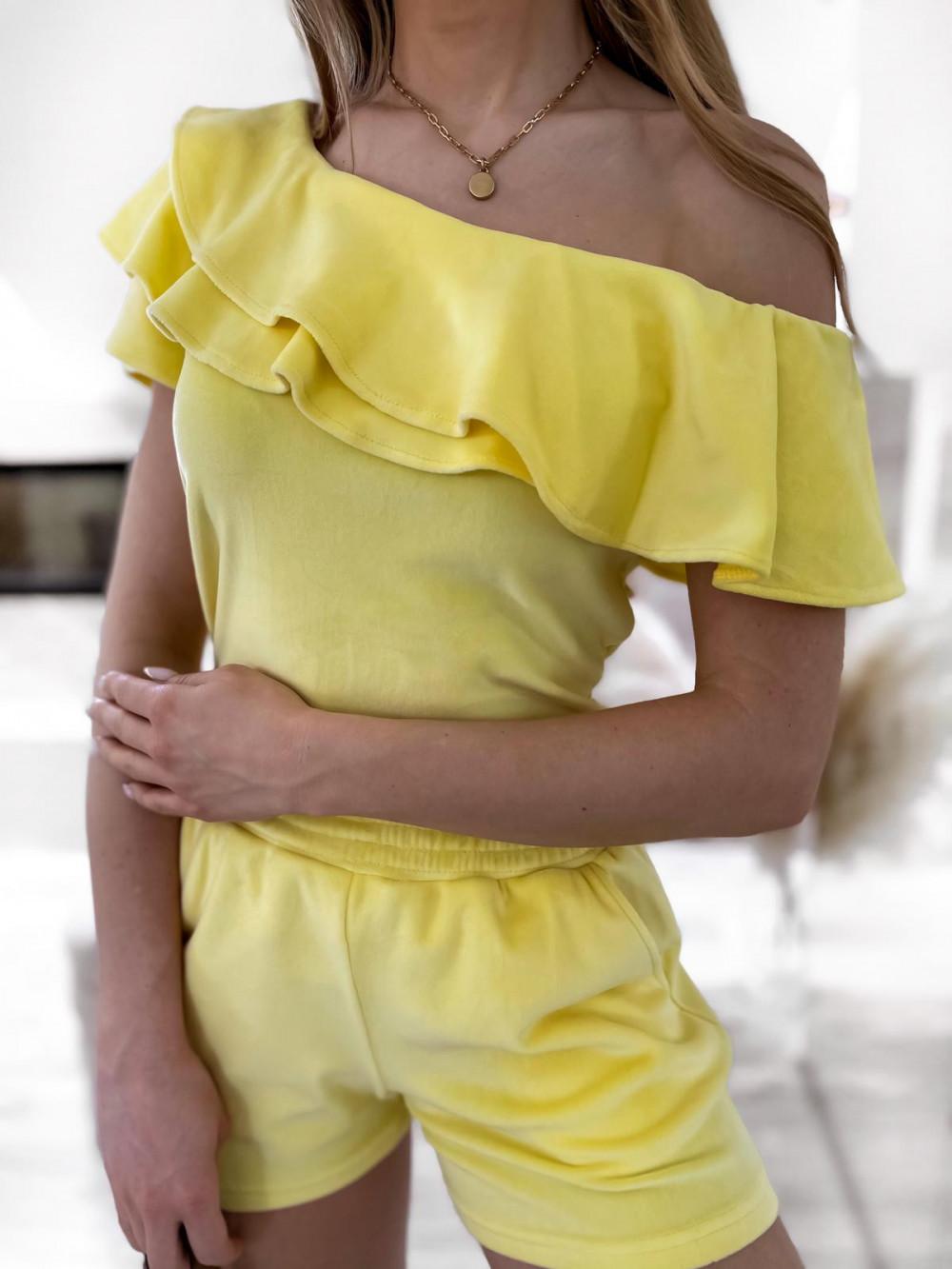 Żółty krótki komplet damski hiszpanka z szortami Clarisa 3
