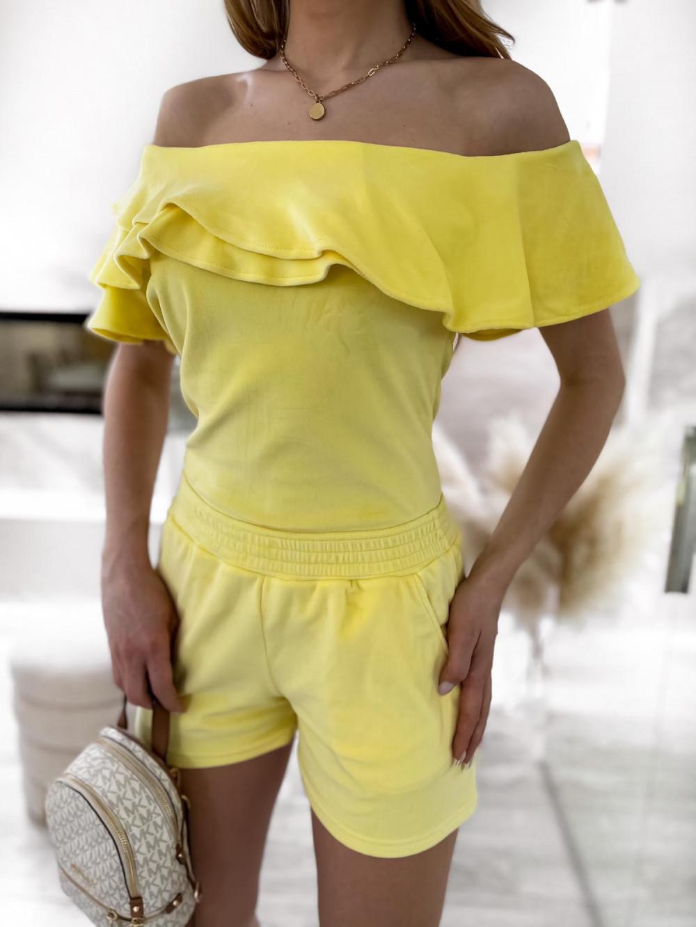 Żółty krótki komplet damski hiszpanka z szortami Clarisa 4