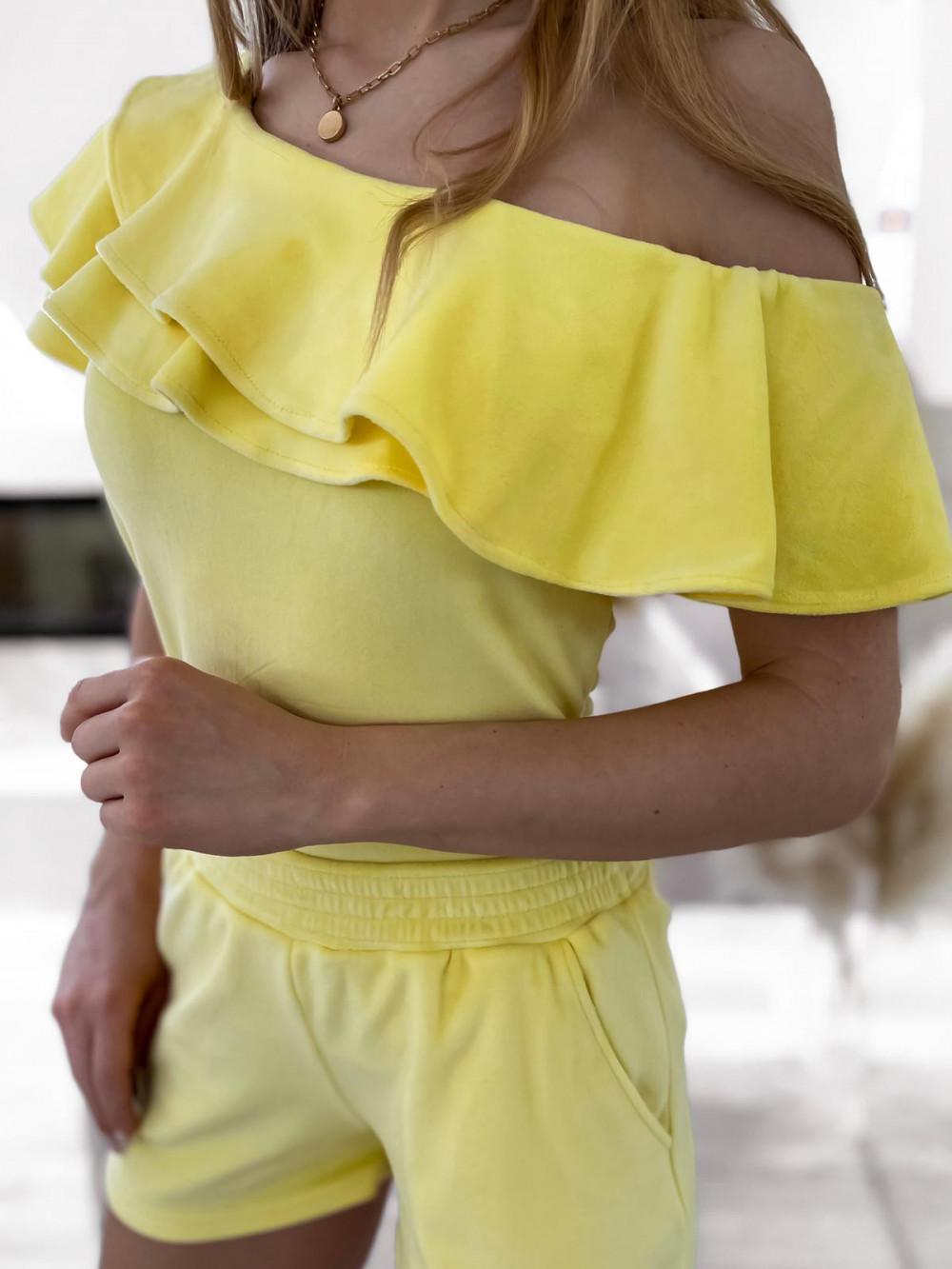 Żółty krótki komplet damski hiszpanka z szortami Clarisa 5