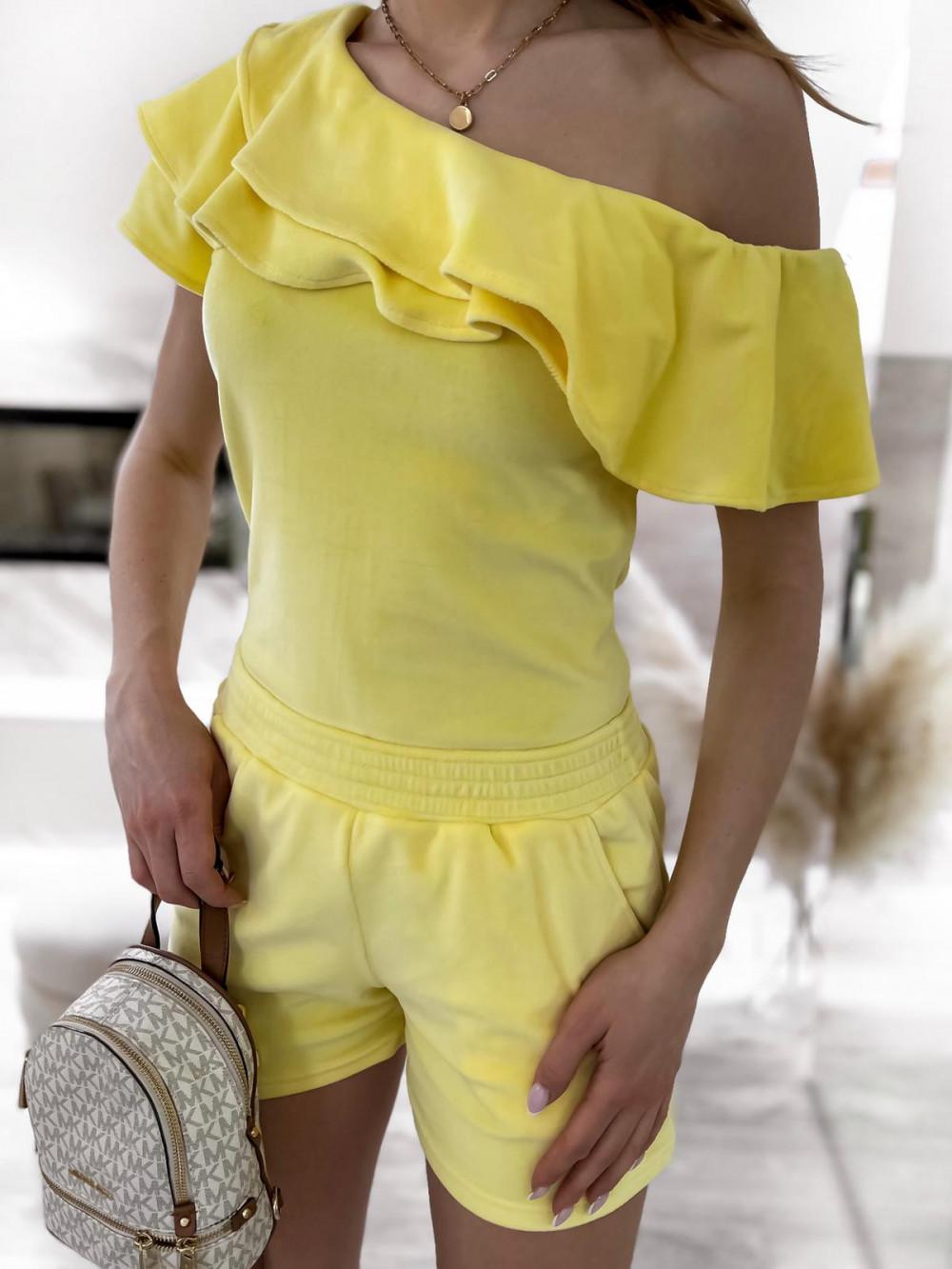 Żółty krótki komplet damski hiszpanka z szortami Clarisa 6