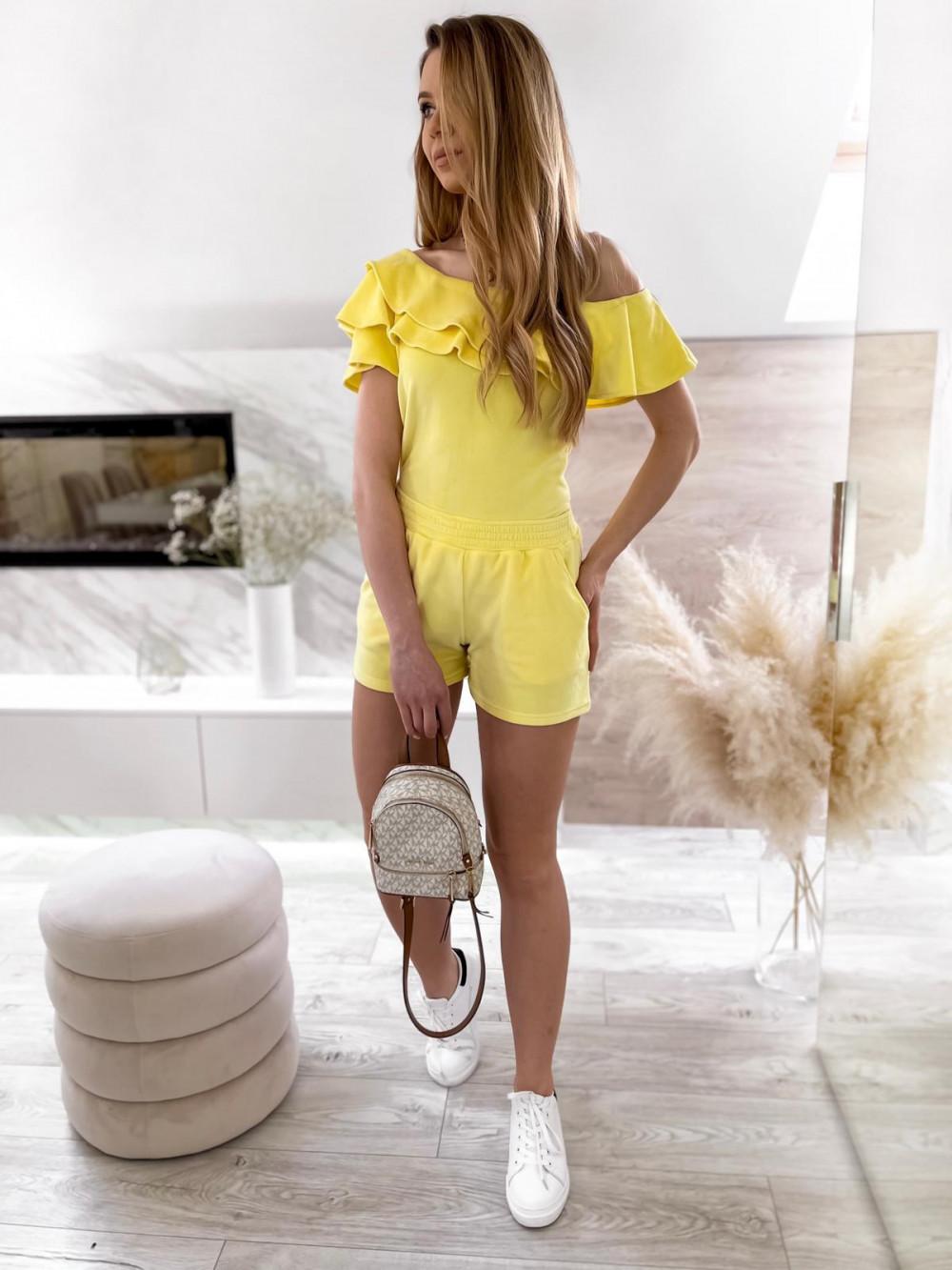 Żółty krótki komplet damski hiszpanka z szortami Clarisa 2