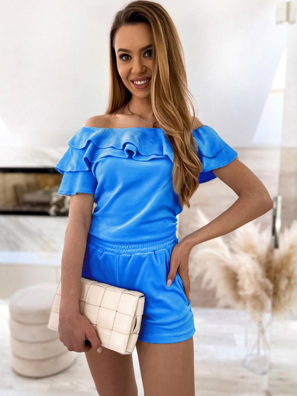 Niebieski krótki komplet damski hiszpanka z szortami Clarisa 1