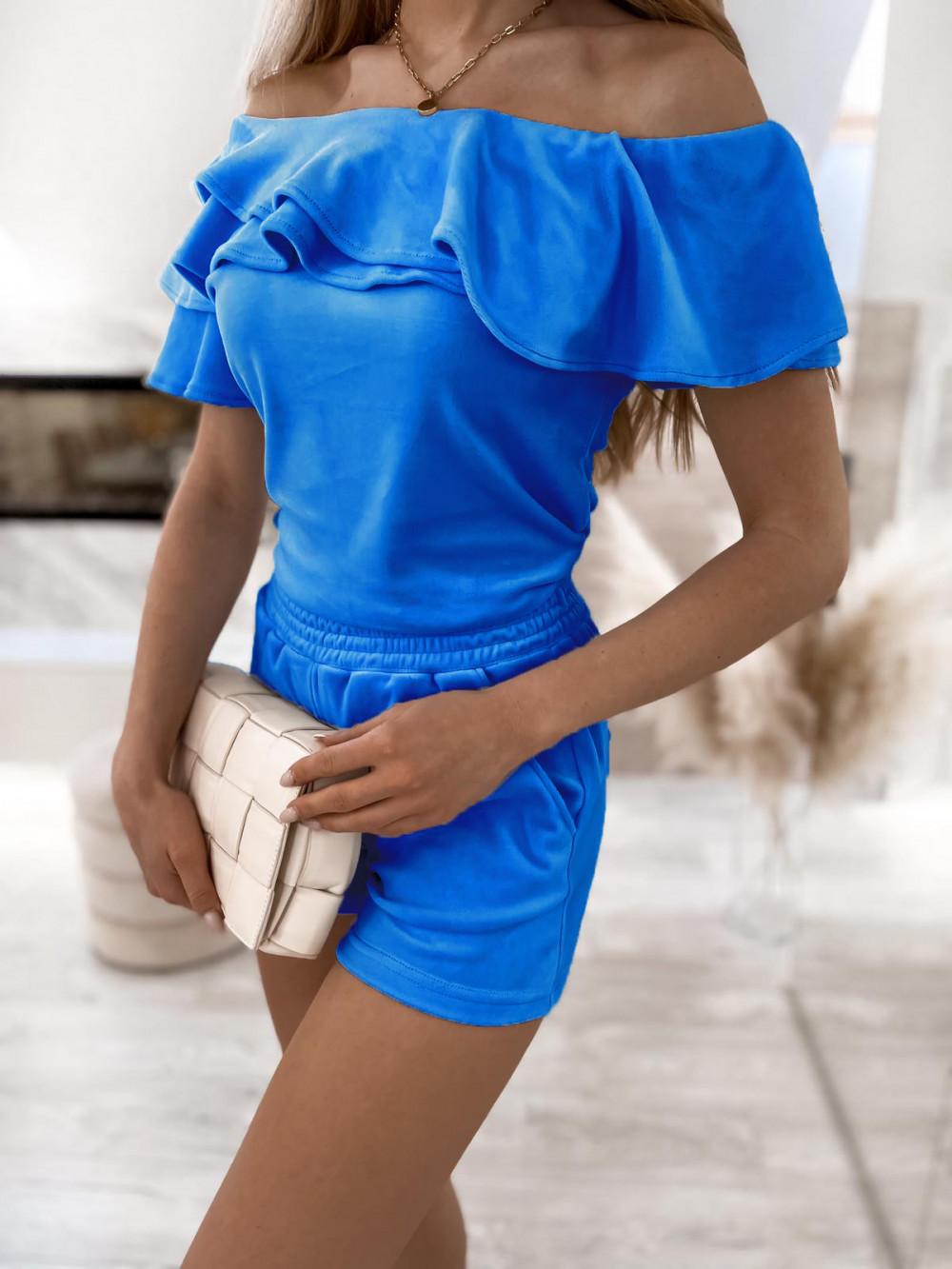 Niebieski krótki komplet damski hiszpanka z szortami Clarisa 2