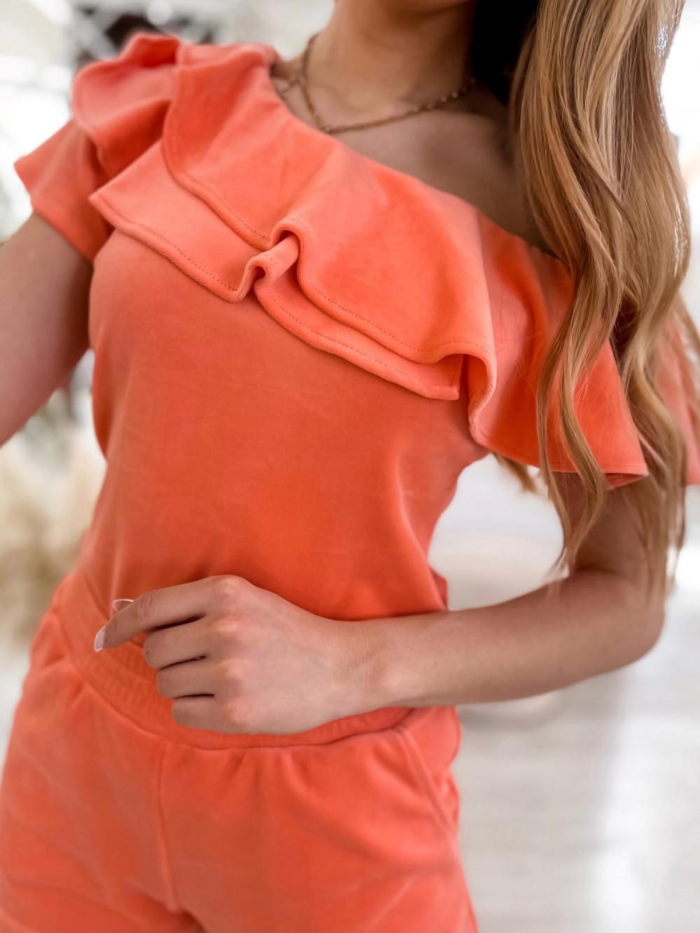 Pomarańczowy krótki komplet damski hiszpanka z szortami Clarisa 4