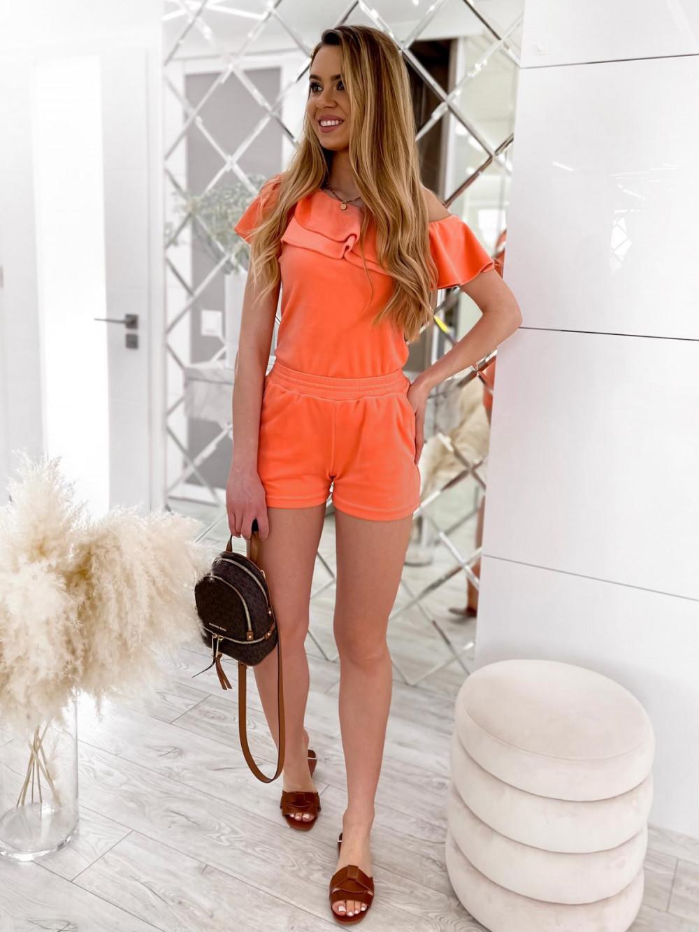 Pomarańczowy krótki komplet damski hiszpanka z szortami Clarisa 2