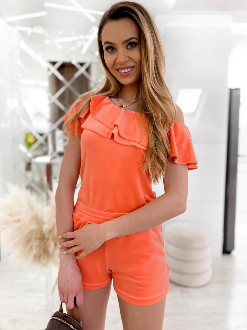 Pomarańczowy krótki komplet damski hiszpanka z szortami Clarisa 3