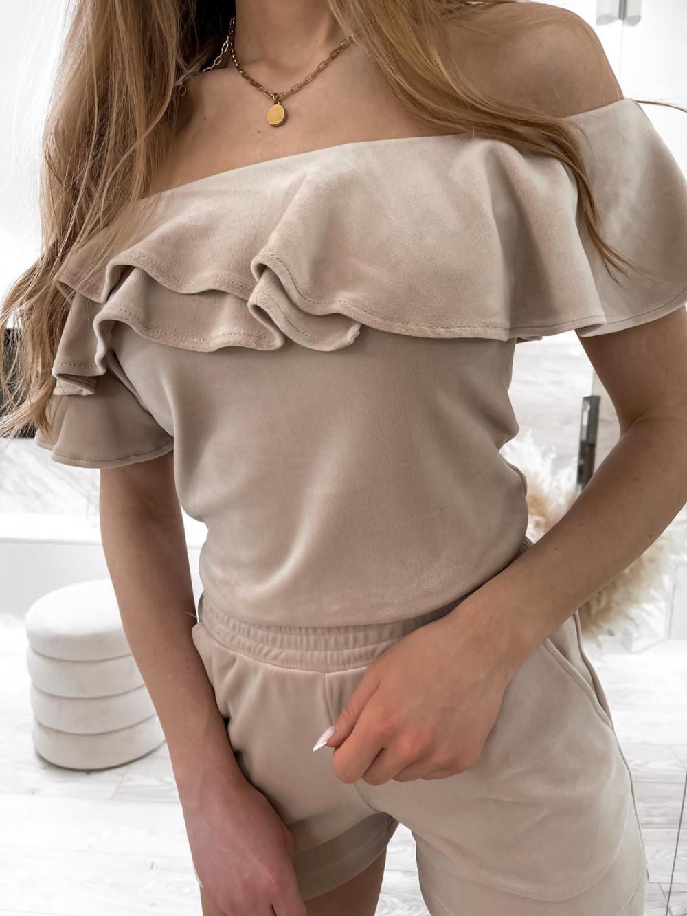 Beżowy krótki komplet damski hiszpanka z szortami Clarisa 6