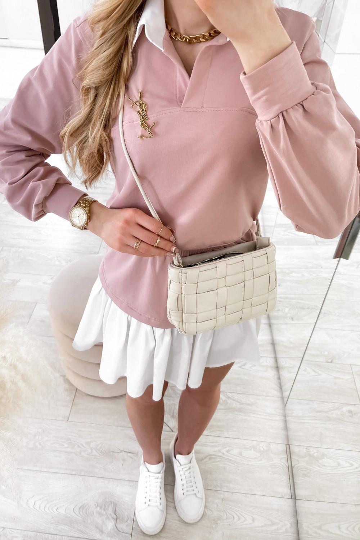 Jasnoróżowy zestaw spódniczki i bluzy Dulce 4
