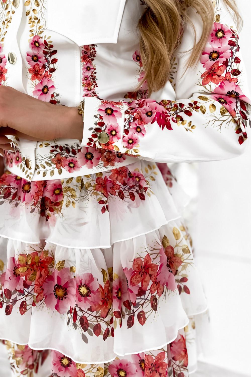 Różowy kwiatowy komplet katany i spódniczki Florencia 8