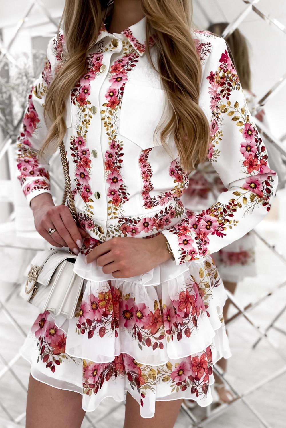 Różowy kwiatowy komplet katany i spódniczki Florencia 7