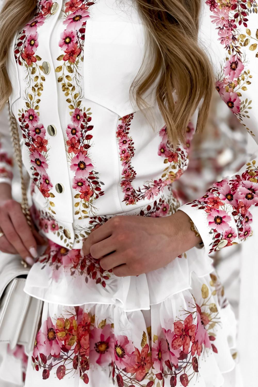 Różowy kwiatowy komplet katany i spódniczki Florencia 9