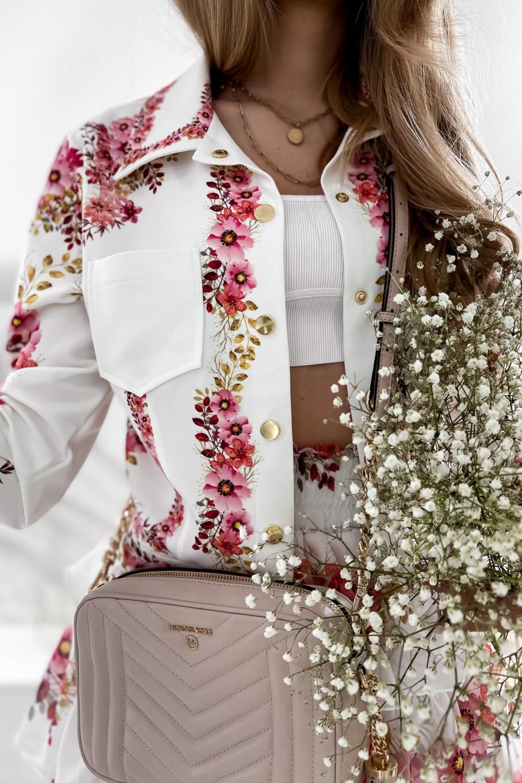 Różowy kwiatowy komplet katany i spódniczki Florencia 10