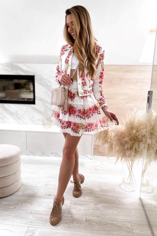 Różowy kwiatowy komplet katany i spódniczki Florencia 2