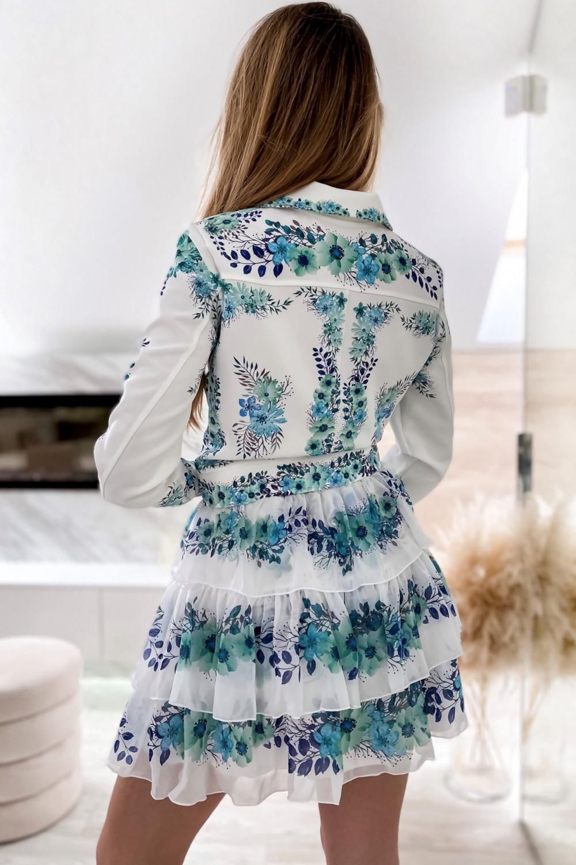 Niebieski kwiatowy komplet katany i spódniczki Florencia 10