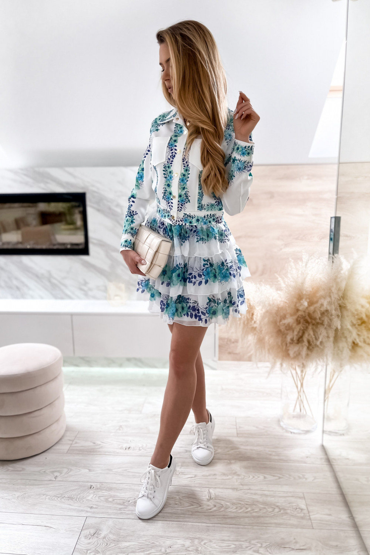 Niebieski kwiatowy komplet katany i spódniczki Florencia 3
