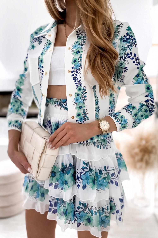 Niebieski kwiatowy komplet katany i spódniczki Florencia 4